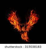 Fire Burning Phoenix Bird With...