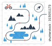 cross country bicycle map | Shutterstock .eps vector #315051173