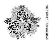 doodle art flowers. zentangle... | Shutterstock .eps vector #315068483