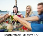 blurred beach summer dinner... | Shutterstock . vector #315095777