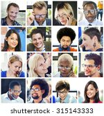 collage diverse faces group... | Shutterstock . vector #315143333