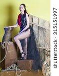 girl in the black dress | Shutterstock . vector #315151997