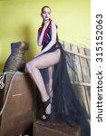 girl in the black dress | Shutterstock . vector #315152063