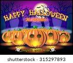 happy halloween post card. | Shutterstock .eps vector #315297893
