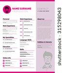 resume template  minimalist cv  ... | Shutterstock .eps vector #315298043
