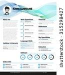 resume template  minimalist cv  ... | Shutterstock .eps vector #315298427