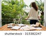 female student enjoying view... | Shutterstock . vector #315382247