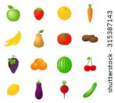 fruits and vegetables icons set  | Shutterstock . vector #315387143