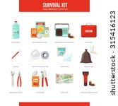 survival emergency kit for... | Shutterstock .eps vector #315416123