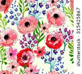 watercolor floral seamless... | Shutterstock . vector #315425867