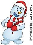cartoon snowman giving the... | Shutterstock .eps vector #315521963