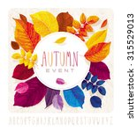 autumn leaves card for events... | Shutterstock .eps vector #315529013