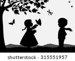 cute kids silhouettes | Shutterstock .eps vector #315551957