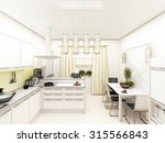 yellow modern kitchen interior... | Shutterstock . vector #315566843