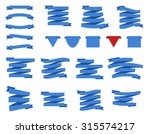 set of blue ribbons and flags.... | Shutterstock .eps vector #315574217