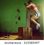 young adult crossfit girl... | Shutterstock . vector #315585497