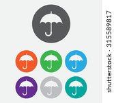 umbrella icon. eps 10. round...