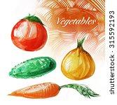 watercolor vegetables | Shutterstock . vector #315592193