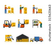 warehouse icon flat set with... | Shutterstock . vector #315620663
