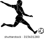 woman playing soccer silhouette | Shutterstock .eps vector #315631283