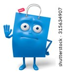 a blue shopping bag in the...   Shutterstock . vector #315634907