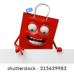 a red shopping bag with a white ...   Shutterstock . vector #315639983
