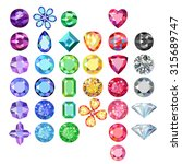 Set Of Colored Gems Isolated O...