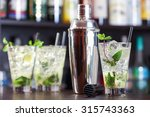 group of mojito cocktails on a... | Shutterstock . vector #315743363