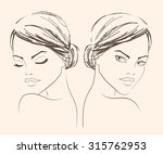 two portraits of a girl for... | Shutterstock .eps vector #315762953