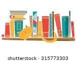 Bookshelf With Cat. Vector