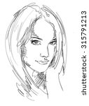 drawing portrait of young woman.... | Shutterstock .eps vector #315791213