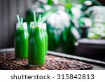 Fresh Green Smoothie Outdoors