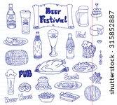 sketched beer and snacks set ... | Shutterstock .eps vector #315852887