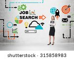Stock photo beautiful recruiter agent with black folder is looking for new candidates colourful icons about 315858983