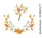 autumn wreath of leaves and... | Shutterstock . vector #315863177