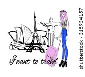 fashion girl with baggage wants ... | Shutterstock .eps vector #315934157