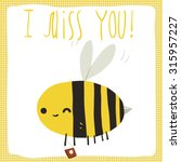 i miss you bee postcard. the...