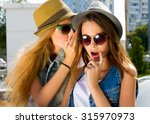 two teenage girls having fun... | Shutterstock . vector #315970973