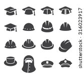 hat icon set | Shutterstock .eps vector #316023917