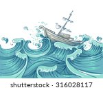 illustration of a ship being... | Shutterstock .eps vector #316028117