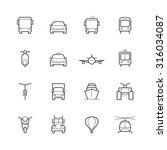 Transportation Icons In Thin...