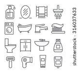 bathroom line icons | Shutterstock .eps vector #316037633