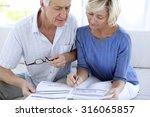 senior couple doing home... | Shutterstock . vector #316065857