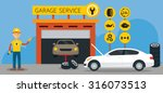 car  mechanic and garage... | Shutterstock .eps vector #316073513