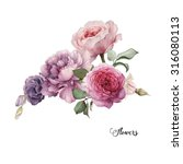 Stock photo bouquet of roses watercolor can be used as greeting card invitation card for wedding birthday 316080113