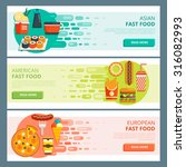 set of colorful flat fast food... | Shutterstock .eps vector #316082993