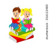 children boy and a girl reading ... | Shutterstock .eps vector #316112483