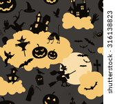 halloween seamless patterns.... | Shutterstock .eps vector #316138823
