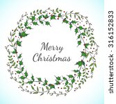 christmas vector floral wreath... | Shutterstock .eps vector #316152833