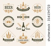 set of  beer labels  emblems ... | Shutterstock .eps vector #316154723